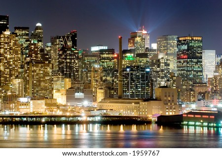Panorama of New York city at nighttime