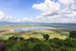 Panorama of NgoroNgoro crater. The lake is inside the crater. Tanzania, Africa