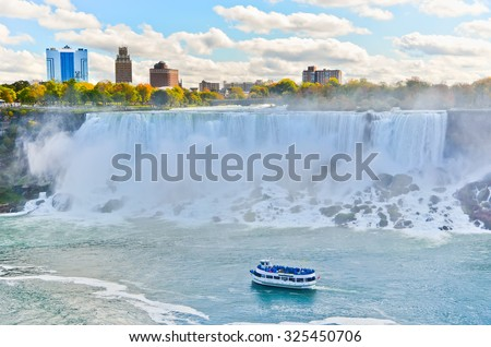 Panorama of Niagara Falls in autumn