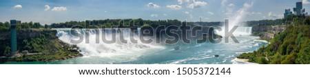 Panorama of Niagara Falls with American Falls and Horseshoe Falls