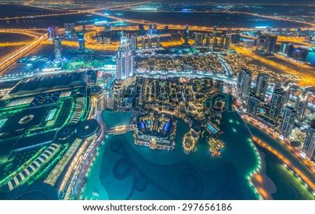 Panorama of night Dubai during sunset #297656186