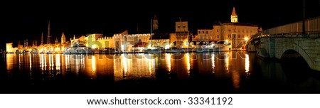Panorama of night harbour of Trogir (Croatia)