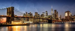 Panorama of NYC with Brooklyn Bridge from Dumbo, NYC, USA