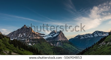 Panorama of Oberlin, Clements, and Cannon Mountains in the Montana Rockies #506904853