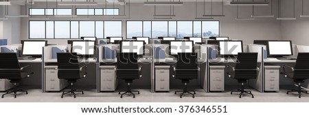 Panorama of office with many computer monitors on desks (3D Rendering)