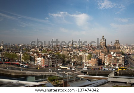 panorama of old Amsterdam, Netherlands