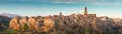 panorama of old city in Tuscany on dusk in Italy