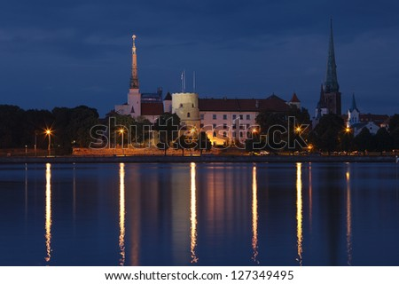 Panorama of old Riga at night. Latvia