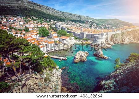 Panorama of old town of Dubrovnik in Croatia