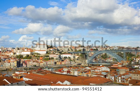 panorama of old town of Porto, Portugal