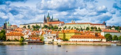 Panorama of old town of Prague with the famous Prague's castle, Czech Republic