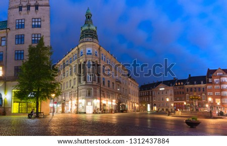 Panorama of oldest square Gammeltorv or Old Market in Old town during morning blue hour, Copenhagen, capital of Denmark #1312437884