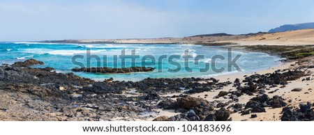 Panorama of open beach on a tropical island. Lanzarote. Canarian island.