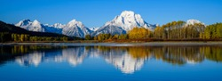 panorama of Oxbow Bend in Grand Tetons National Park, Wyoming, USA.