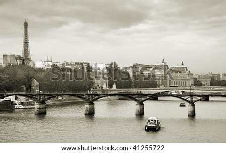 "Panorama of Paris and the bridge ""Pont des Arts"", France. - stock photo"