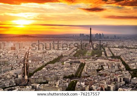 Panorama of Paris at sunset