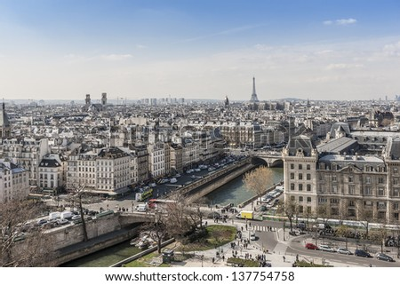 Panorama of Paris from top of the Notre dame de Paris. Eiffel tower in the background. France.