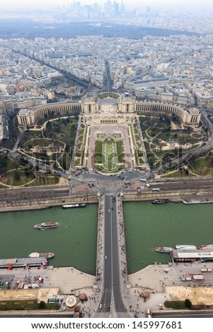 Panorama of Paris, the Trocadero and La Defense from the top platform of the Eiffel Tower, Paris, France