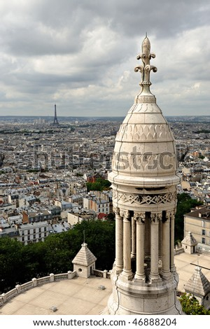 Panorama of Paris with a detail of the Sacre-Coeur church, Montmartre