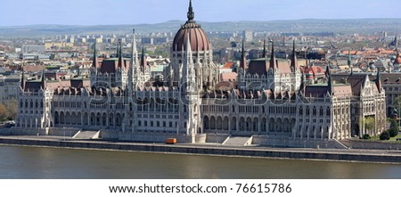 Panorama of Parliament in Budapest