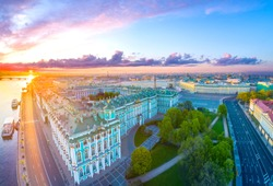 Panorama of Petersburg. The Palace Embankment. Hermitage. Museums of Petersburg. Panorama of Russian cities. Sunny day in St. Petersburg. Embankments in St. Petersburg.