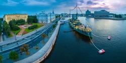Panorama of Petersburg. View of the Neva River. Panorama of the Neva River. Russia. Museum ship