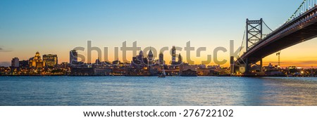 Panorama of Philadelphia skyline, Ben Franklin Bridge and Penn's Landing sunset