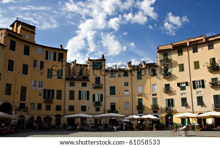 Panorama of Piazza Anfiteatro, Lucca, Tuscany, Italy