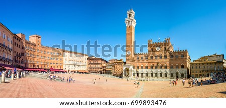 Shutterstock Panorama of Piazza del Campo (Campo square), Palazzo Publico and Torre del Mangia (Mangia tower) in Siena, Tuscany, Italy