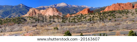 Panorama of Pikes Peak Soaring over the Garden of the Gods near Colorado Springs, Colorado - stock photo