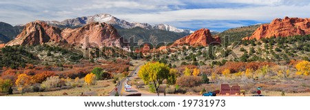 Panorama of Pikes Peak Soaring over the Garden of the Gods near Colorado Springs, Colorado in Autumn