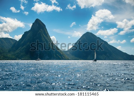 Panorama of Pitons at Saint Lucia Caribbean