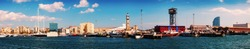 Panorama of Port Vell and Barceloneta district. Barcelona, Spain
