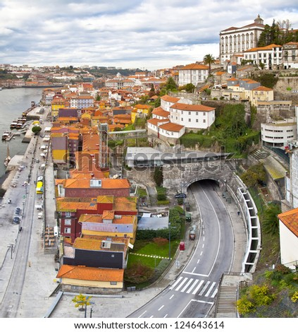 Panorama of Porto, Portugal. Evening time.