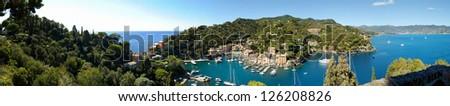 Panorama of Portofino town in Italy