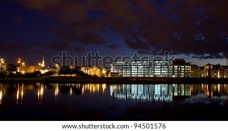 Panorama of Poznan at night, Poland. Poznan is host city Uefa Euro 2012