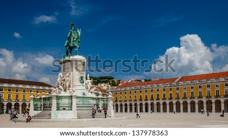 Panorama of Praca do Comercio and Statue of King Jose I in Lisbon, Portugal