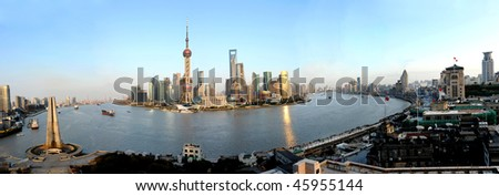 panorama of pudong seen from shanghai, China