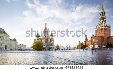 Panorama of Red Square in Moscow, Russia #493628428