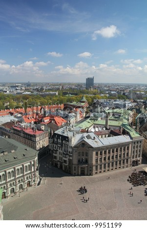 Panorama of Riga - Dome square, Reval Latvia hotel building