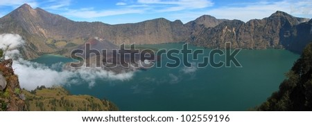 Panorama of Rinjani volcano, Lombok island, Indonesia