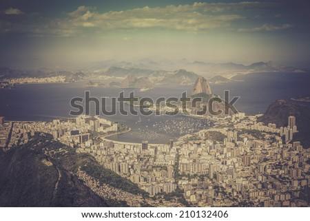 Panorama of Rio de Janeiro ,Brazil - vintage look