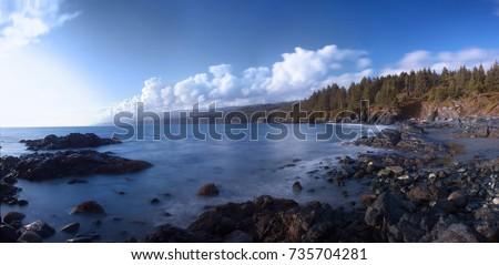 Panorama of rocky beach coastline on Canada's west coast, Sooke, Vancouver Island, BC. Stock fotó ©