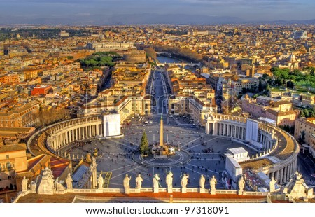 Panorama of Rome from Saint Peter's basilica, Rome, Italy