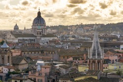 panorama of Rome with the dome of San Carlo al Corso in the backgroundf rom the public park Pincian Hill, Villa Borghese gardens, Rome, Italy