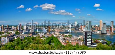 Panorama of Rotterdam city and the Erasmus bridge Erasmusbrug over Nieuwe Maas river from Euromast Stockfoto ©