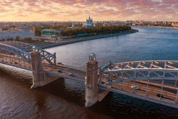 Panorama of Saint Petersburg. Landscape of the city of Russia. Panorama of Neva in Saint Petersburg. Bolsheokhtinsky bridge across Neva. Saint Petersburg on summer day. Russian city in sunny weather