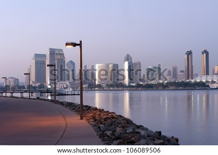 Panorama of San Diego at dusk from Coronado promenade