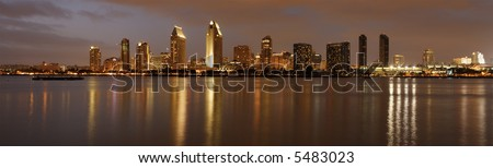 Panorama of San Diego downtown at dusk, shot from Coronado island.