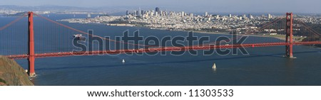 Panorama of San Francisco city skyline and the Golden gate bridge over the bay area and Oakland in the background